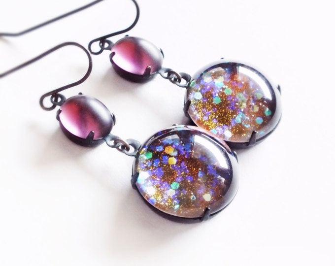 Rainbow Glass Earrings Large Vintage Iridescent Glitter Dragon Scale Statement Earrings Colorful Chunky Jewelry