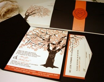SAMPLE of Fall Oak Tree Wedding Invitation, Pocketfold, Rustic Wedding Fall Wedding Invitations, Fall Wedding Invitation Fall Wedding Invite
