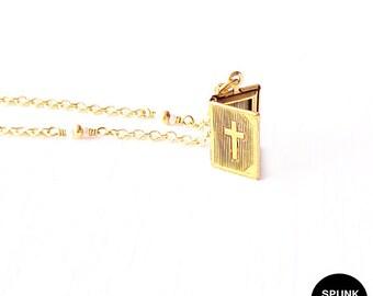 Gold Chain Necklace - Czech Glass Beads, Brass - The Basics: Cross Bible Locket