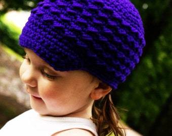 Infant Newsboy Hat, Purple Newborn Girl Cap, Child Beanie, Crochet Soft-Brimmed Visor, MADE TO ORDER,