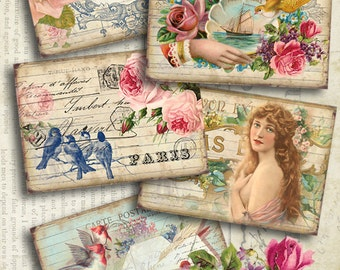 "VINTAGE DREAM - Printable Gift Tags Digital Collage Sheet Downloadable 2.5""x3.5"" size images for Paper craft Jewelry holders by Art Cult"