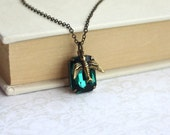 Vintage Emerald Green Glass Octagon Jewel, Flying Bird Necklace.  Holiday Gifts For Her. For Wife.