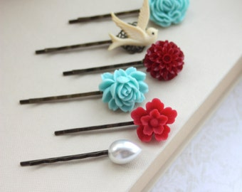 Aqua Blue, Red, Ivory Bird, Pearl Flower Hair Pins. Shades of Turquoise Blue, Red Bobby Pins, Floral Flower Hair Accessories. Set of Six (6)