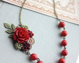 Wedding Collage Floral Necklace Maroon Red Rose, Burgundy, Green, Brown Patina Leaf Branch Green Floral. Winter Wedding Garden Fall Wedding