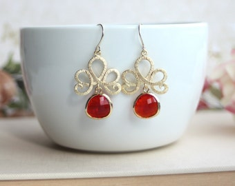 Ruby Red Earrings, Matte Gold Plated Filigree Red Glass Lotus Dangle Earrings. Water Lotus Flowers, Sister Bridesmaid Gift. Red Gold Wedding