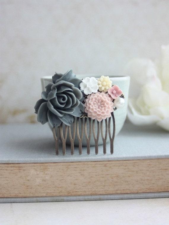 Large Grey Rose, Pink Chrysanthemum, White, Ivory Peach Flowers Collage  Hair Comb. Bridesmaid Gifts. Grey Gray Pink Wedding. Bridal Weddin