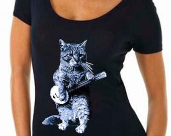 cat - cat shirt - cat tshirt - cat gifts - cat lover gift - cat lady - cat lover - womens tshirts - banjo shirt - BANJO CAT - scoop neck