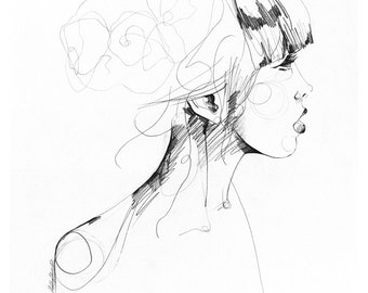 Bliss // A2 LIMITED EDITION giclée print from an original  pencil drawing by Holly Sharpe
