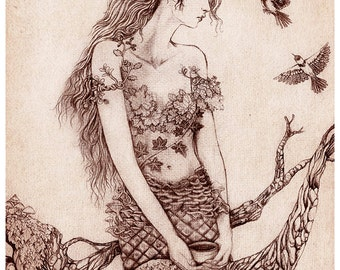 SALE Pinecone Dryad, A3 Fairy Dryad Illustration Art Print, Oversize Print