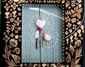 custom personalized baby birthday frame-child name keepsake frame-personalized frame with name and date surrounded by flower bird design-