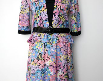 French vintage 1980s pink, purple, yellow and blue floral peplum dress - small S medium M