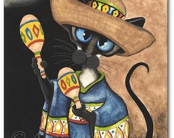 Siamese Cats  Cinco de Mayo- Art Prints by Bihrle ck367