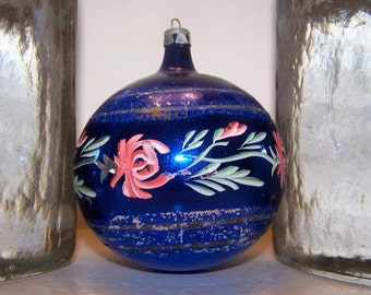 Blue Floral, Hand Painted, Oversize Ornament, Large Round, Christmas Ornament, Made in Poland, Christmas Decoration, Flower Pattern, Vintage