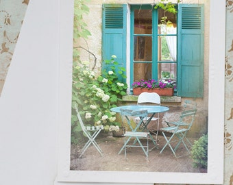 French Country Photo Notecard - Blue Shutters with Bistro Table and Chairs, France Travel Photo Note Card, Stationery