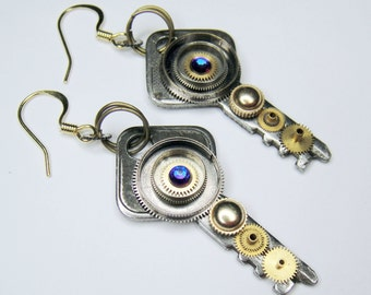 Eco-friendly Repurposed Key Earrings - made from vintage and repurposed recycled parts