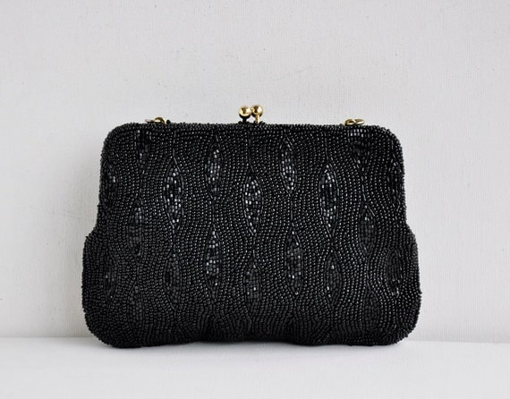 Vintage 50s Classic Black Beaded Evening Clutch