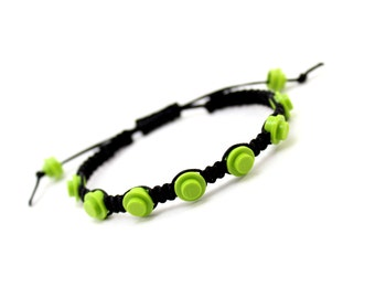 Geek Bracelet in Lime and Black Cord made from LEGO®  Pieces