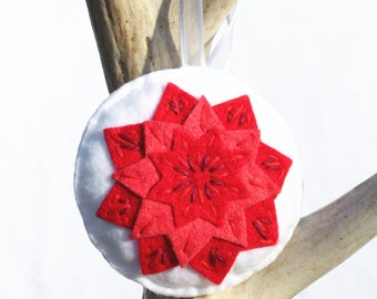 Poinsettia Christmas Ornament . Felt Christmas Ornament (Made to Order)