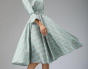 flower dress, linen dress, fall dress, knee length dress, fitted dress, wedding dress, womens dresses, patchwork dress, ruffle dress   (678)