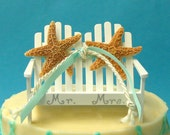 Beach Wedding Cake Topper - White Adirondack Love Seat with Starfish - 24 Ribbon Choices, White or Brown Starfish, Beach Wedding Decor