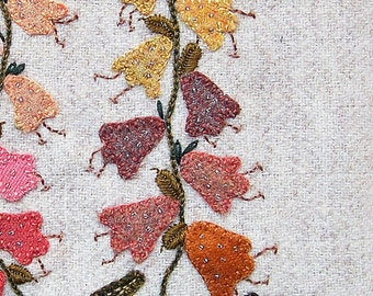 Jacobean Flower Wool Applique, Hand Embroidery / Pattern / Jac 027