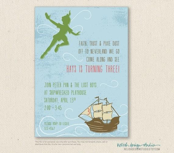 Peter pan inviti compleanno stampabili o di relishdesignstudio for Peter pan invitation template