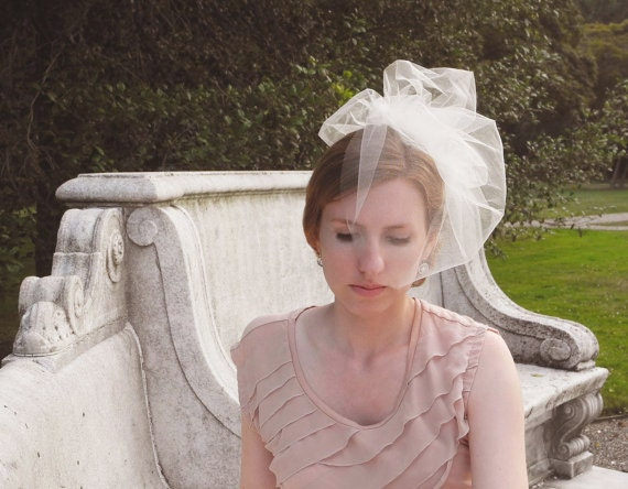 Small Double Blusher Veil / Birdcage Veil / Audrey Veil / made to order / choose white or ivory / please allow 2 week lead time