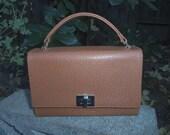 Vintage Box Purse - Brown Box Purse - Mod Purse - Mod Handbag - Vinyl Box Purse - Mod Box Purse - Mod Makeup Bag - Mini Briefcase Purse