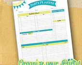 Planner Page / Organizing Form / Party Planner / DIY / Printable / 8.5 x 5.5 / Full Page