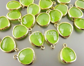 2 semi-transparent green / green peridot opal unique glass charms, glass beads 5031G-PEO