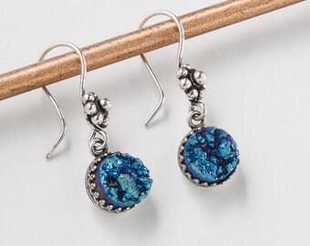 Druzy Drop Earrings Blue Titanium Quartz Agate Gemstone Silver filigree Victorian flower dangle earrings womens Gift Steampunk Nation 2358