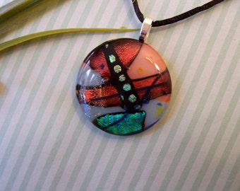 Dichroic Fused Glass Pendant - Copper, Green, and Blue Round Pendant - Fused Jewelry - Dichroic Necklace - 155-13