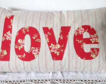 Vintage Red 'love' Cushion/Pillow