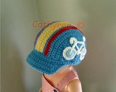 Bike Cap, Cycling Hat with Applique, Baby - Preteen, INSTANT DOWNLOAD Crochet Pattern