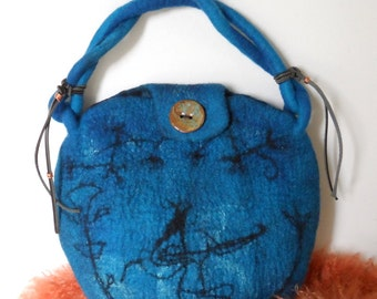 Felted Hand Bag - Ancient Egypt - Lapis Lazuli Blue
