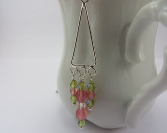Silver Triangle Necklace Pink Green Czech Glass Beads Boho Free Shipping