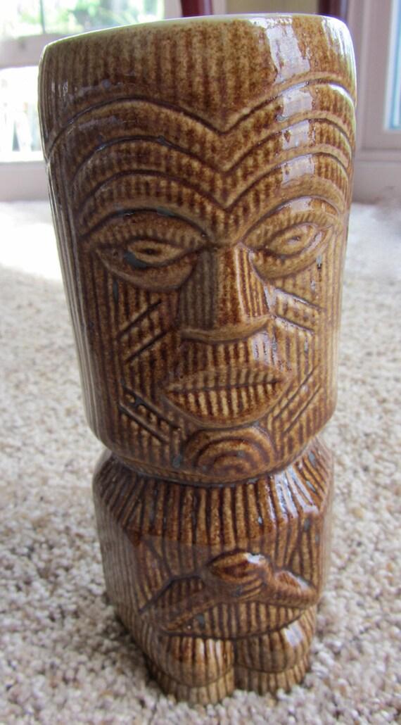 Vintage tiki glass mug vase figurine cup planter germany