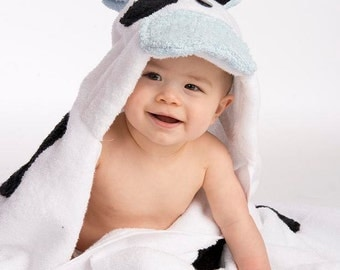 PERSONALIZED Boy Cow Hooded Towel