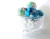 Vintage Mercury Glass Christmas Ornaments. Assortment of 6. blue Green silver. Shabby Tree Ornaments. Bowl Displays. Rustic Farmhouse