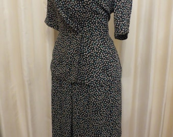 Vintage 80s 90s 2 Piece Perri Cutten Australia Black Patterned Blouse and Skirt Suit Dress Office Work Business Wear