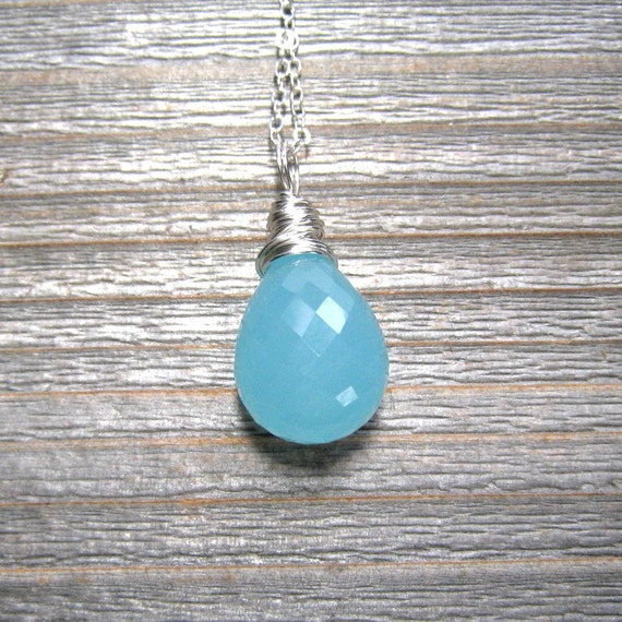 Aqua Chalcedony Necklace,  Sterling Silver,  Blue Gemstone Necklace, Aqua Chalcedony Jewelry, Wire Wrapped