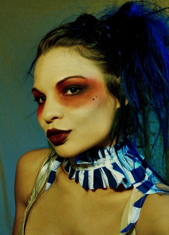 Blue and White stripe Asymmetrical Circus Collar