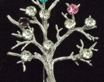 Vintage Sterling Silver Tree of Life Birthstone Brooch Garnet Gemstones