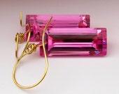 18k Gold Pink Topaz Earrings