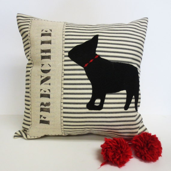 Decorative throw pillow cushion cover with French Bulldog Felt Applique