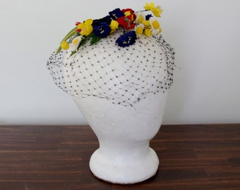 Vintage 50s Birdcage Hat, Millinery Flowers with Black Birdcage, 1950s Fascinator, 50s Hat, Flower Hat,  AS IS Upcycle