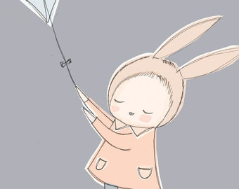 Girls Room Decor - Baby Girl Art Print A4 version - Bunny Girl Flying a Kite - Multiple color options