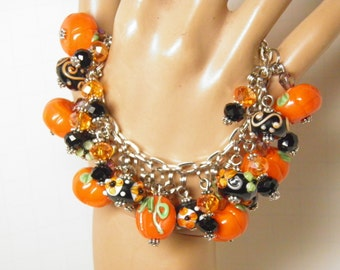 Thanksging Bracelet, Thanksgiving Jewelry, Pumpkin Bracelet, Autumn Jewelry, Lampwork Glass Pumpkin Jewelry, Halloween Jewelry