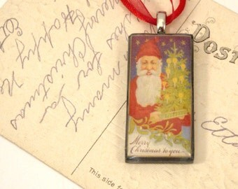 Santa Claus - Merry Christmas to You Vintage Postcard Necklace