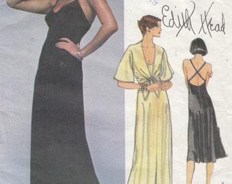 Vintage Vogue American Designer Pattern Edith Head Dress and Jacket 1970s Size 10 Uncut